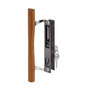 Black Diecast Sliding Patio Door Flush Locking Handle Set With Wood Pull And Key Door Handles Sliding Door Handles Door Handle Sets