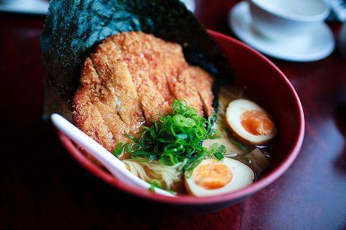 Image via We Heart It https://weheartit.com/entry/151897401/via/3646164 #egg #japanesefood #noodles #pork #ramen #tonkatsu