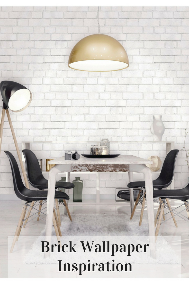 This Wallpaper Is Gorgeous It Would Be Pretty To Create An Accent Wall With It Without Actually Having A B White Brick Wallpaper Home Decor Dining Room Design