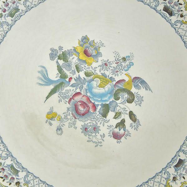 Masons, vintage plate charger 31cm, Birds & Floral, c1940s FREE post UK