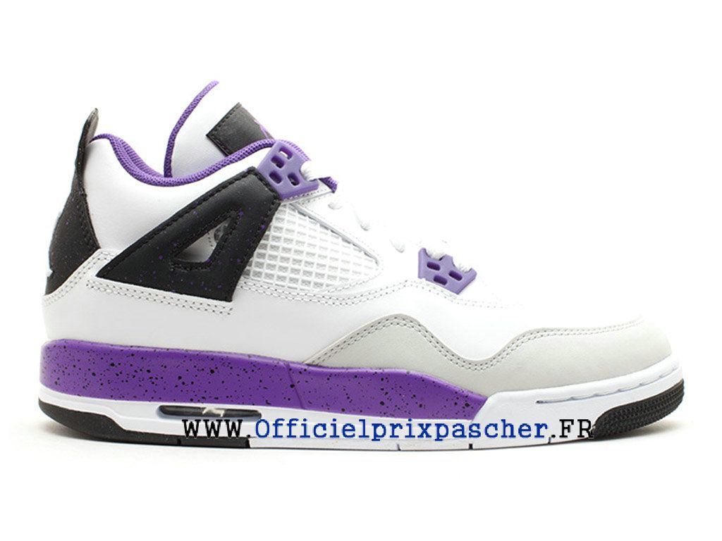 wholesale dealer 992da 64c1e Air Jordan 4 Retro GS Boutique Basketball Chaussures Pas Cher Femme Blanc    Violet 487724 108-1804020555-Basket Air Jordan Site Officiel Moins cher ...