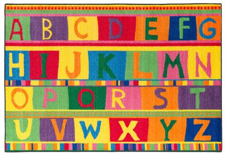 What a fun carpet for a homeschool room! Flagship Carpets ABC Tapestry Kids Rug #aff