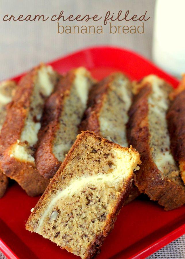 Cream Cheese Filled Banana Bread Recipe Banana Recipes Food Bread