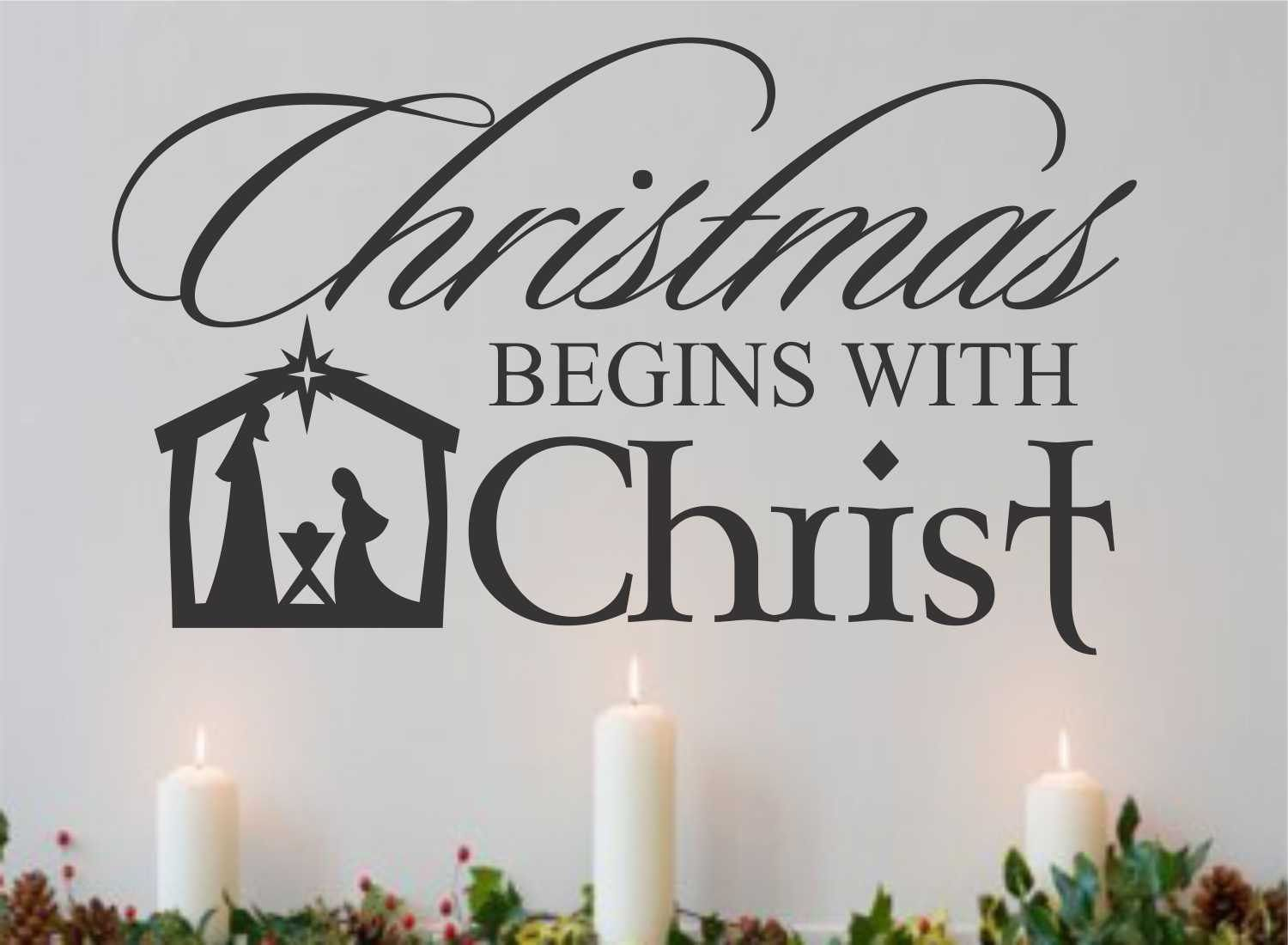 religious vinyl wall lettering christmas begins with christ nativity scene decoration quote - Christmas Quotes Religious