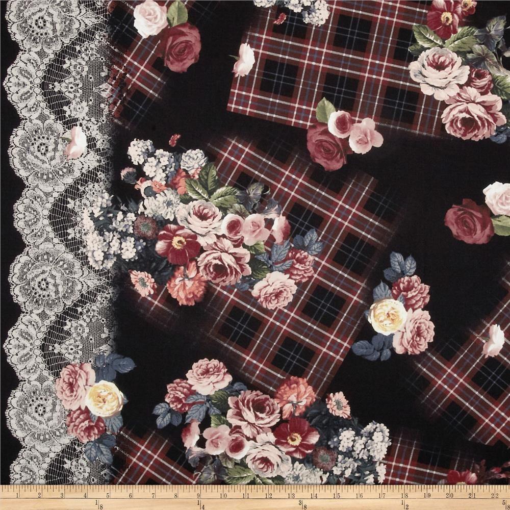 Michael Miller Tartan Floral Rose Single Border Black from