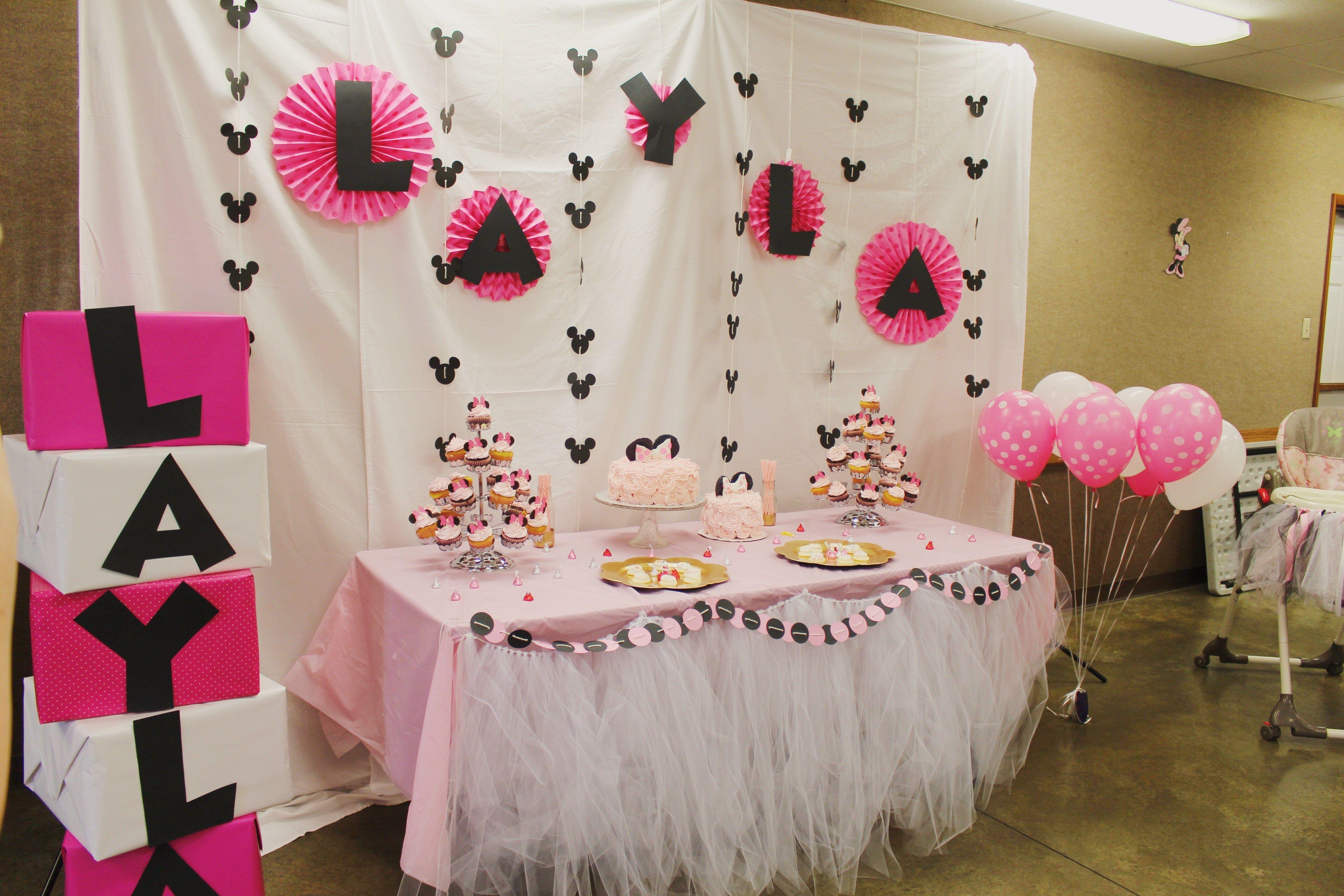 Diy 1st Birthday Minnie Mouse Party Minnie Mouse Party Decorations Minnie Mouse Party Birthday Table