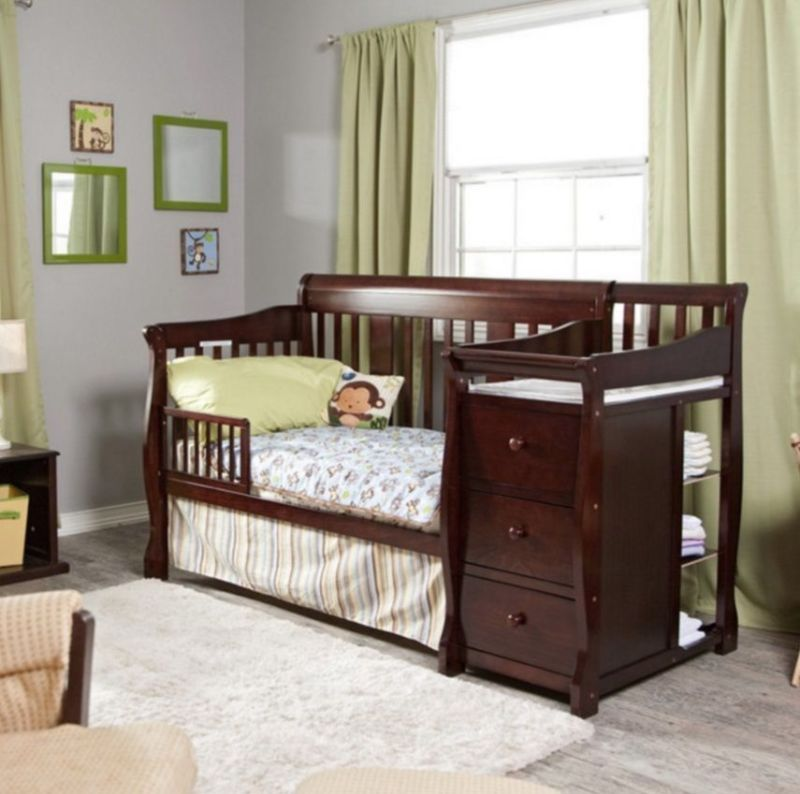 Amazing Convertible Baby Crib 4 In 1 With Changing Table Espresso Fixed Side Toddler