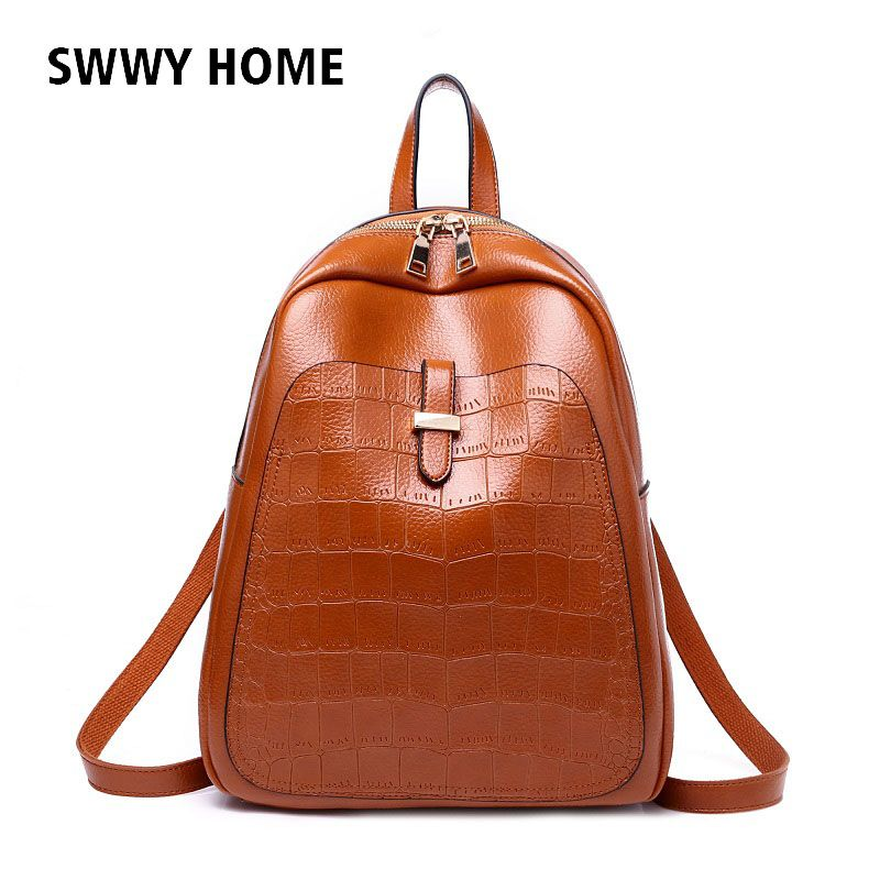 SWWY HOME Fashion Women Backpack High Quality Youth Leather Backpacks for  Teenage Girls Female School Shoulder Bag c75c42375babb