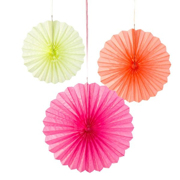 Fluro Fan Pary Decorations! Roll on Summer! www.moss.ie or popinto HQ in Dundrum, Dublin! #Party #Wedding #Summer