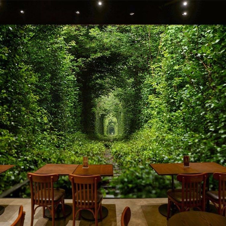 3D Wallpaper Mural Green Forest Entry Door Wall Paper