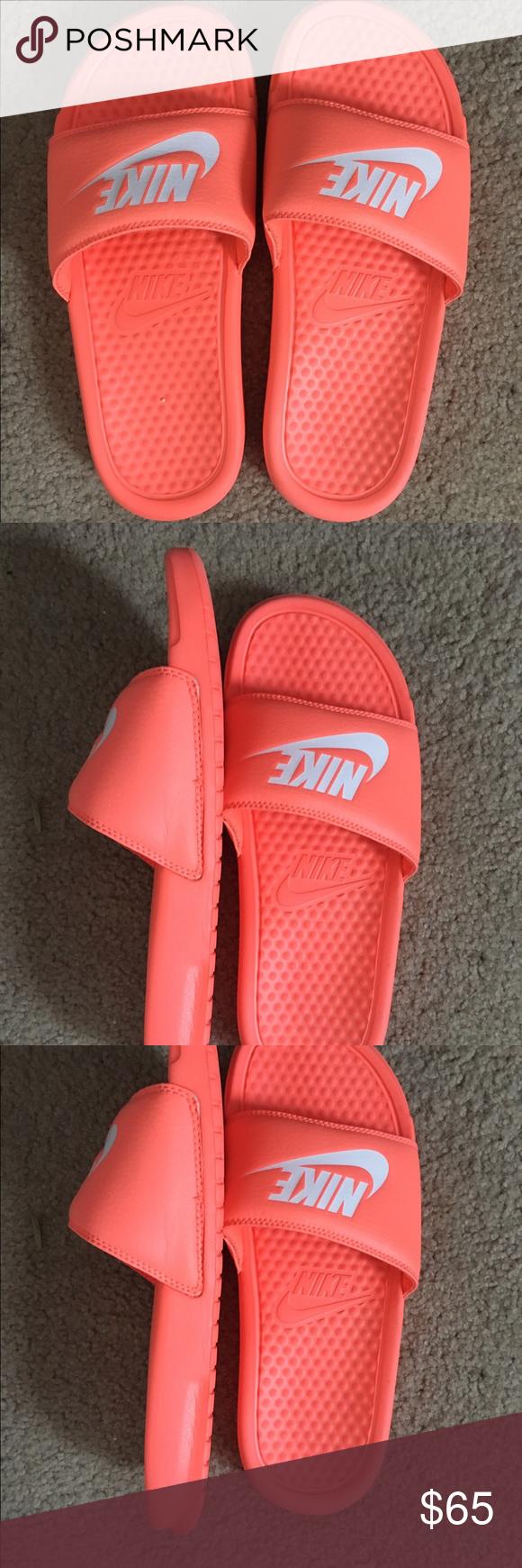 5e41a974fd5506 Nike orange core mango slides white Nike logo These super cute Nike slip on  shoes are