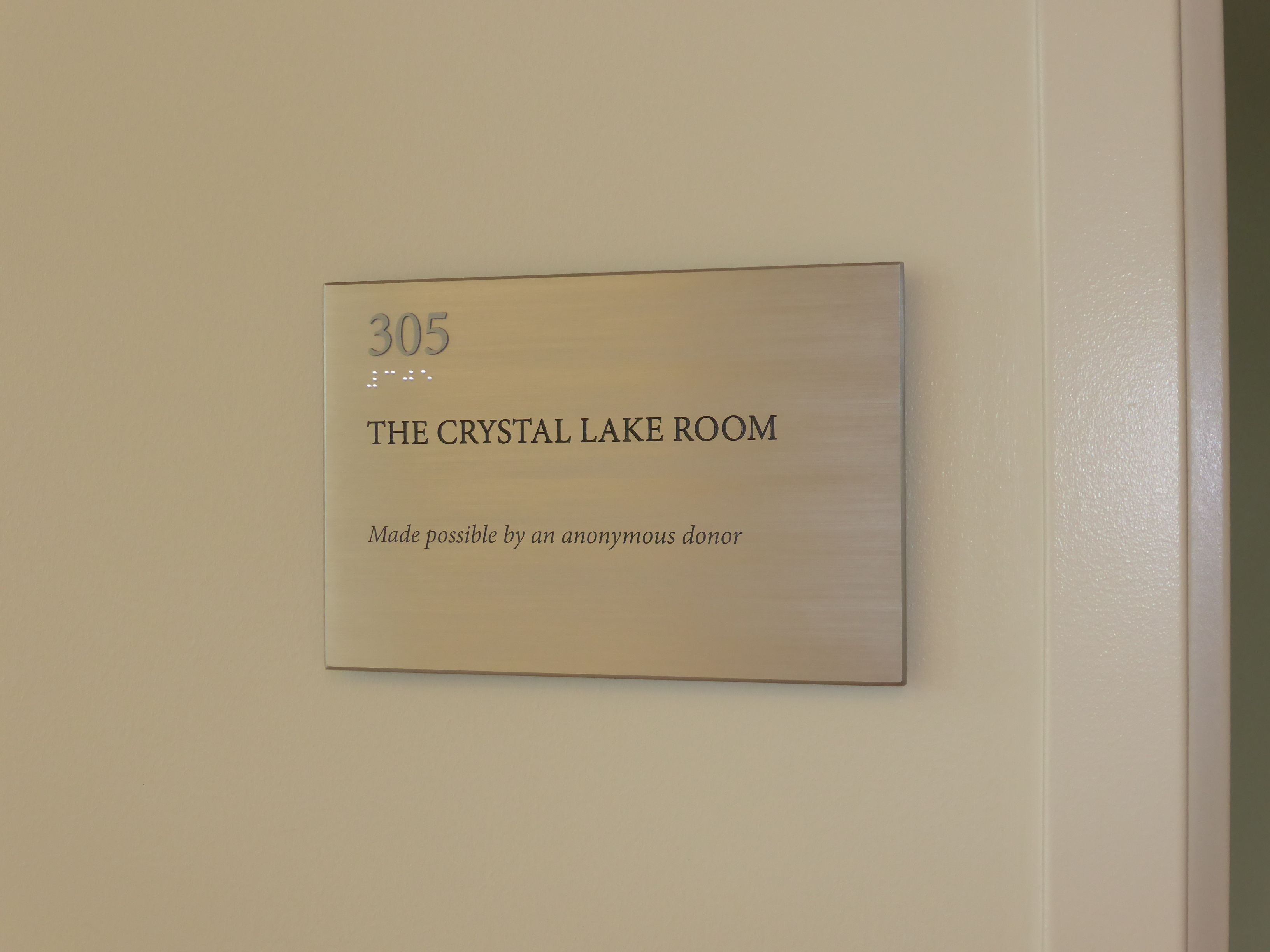 Donor recognition- brushed aluminum room naming plaque ...