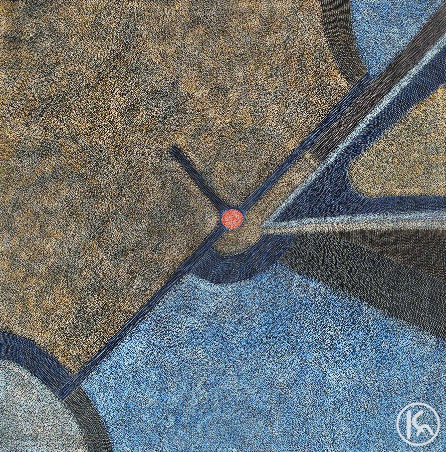 """""""Bush Hen Dreaming"""" by Abie Loy Kemarre 122cm x 122cm $9,900  http://www.aboriginalartstore.com.au/artists/abie-loy-kemarre/bush-hen-dreaming-2/"""