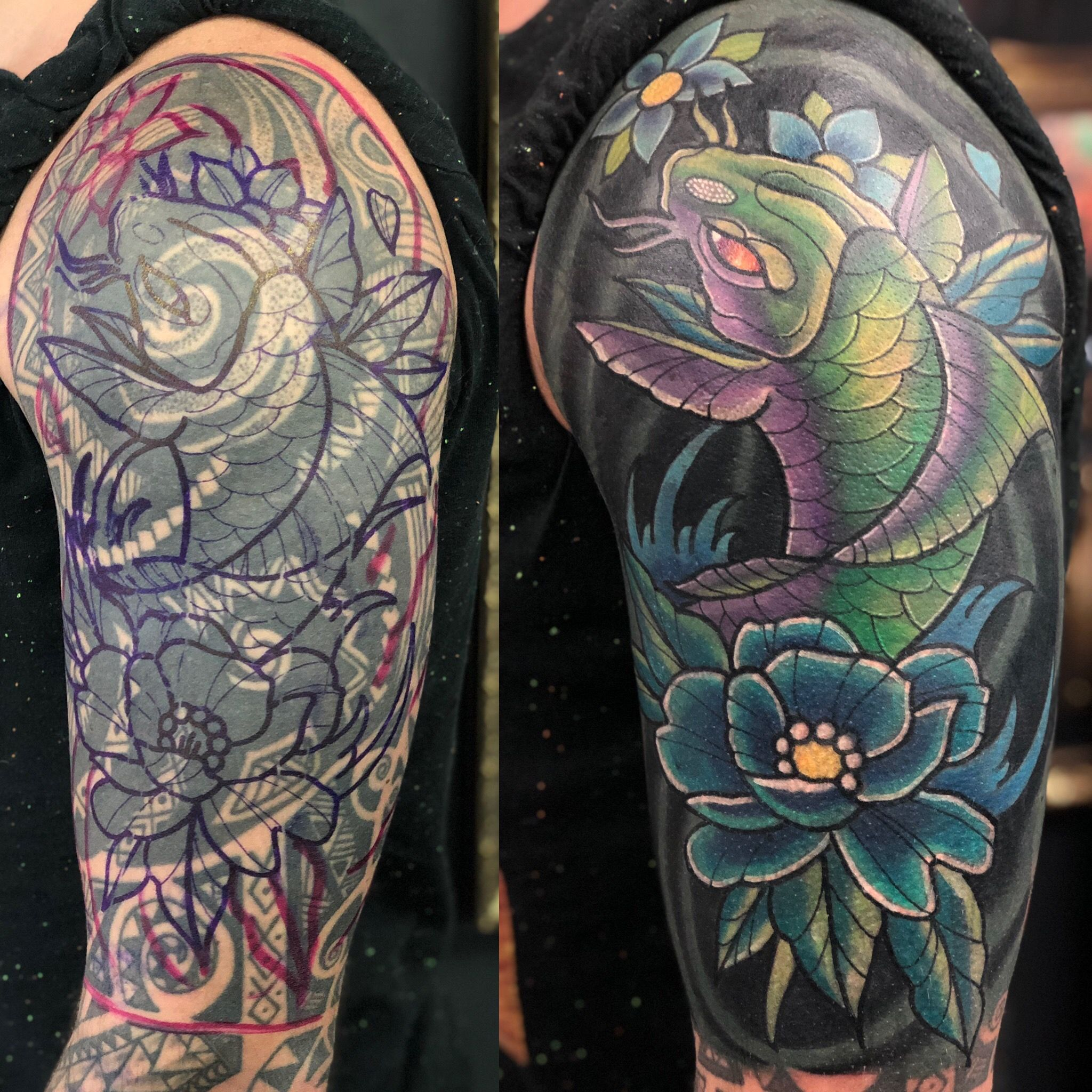 Koi Cover Up Tattoo By Nathan Limited Availability At Revival