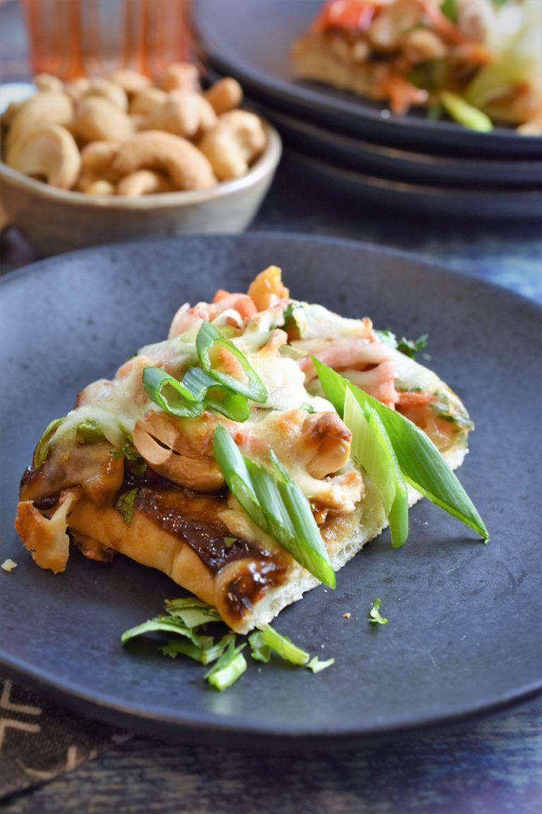 Chinese cashew chicken flatbread pizza bites recipe