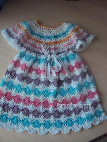 Детское платье из ракушек крючком
