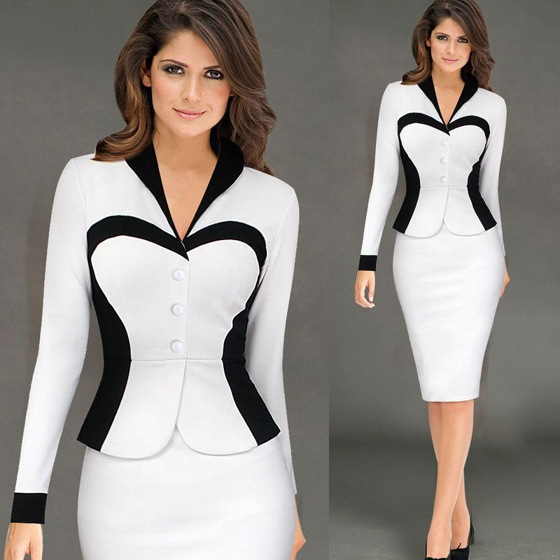 White Victoria New Women Long Sleeve Fashion Business Suit Ol