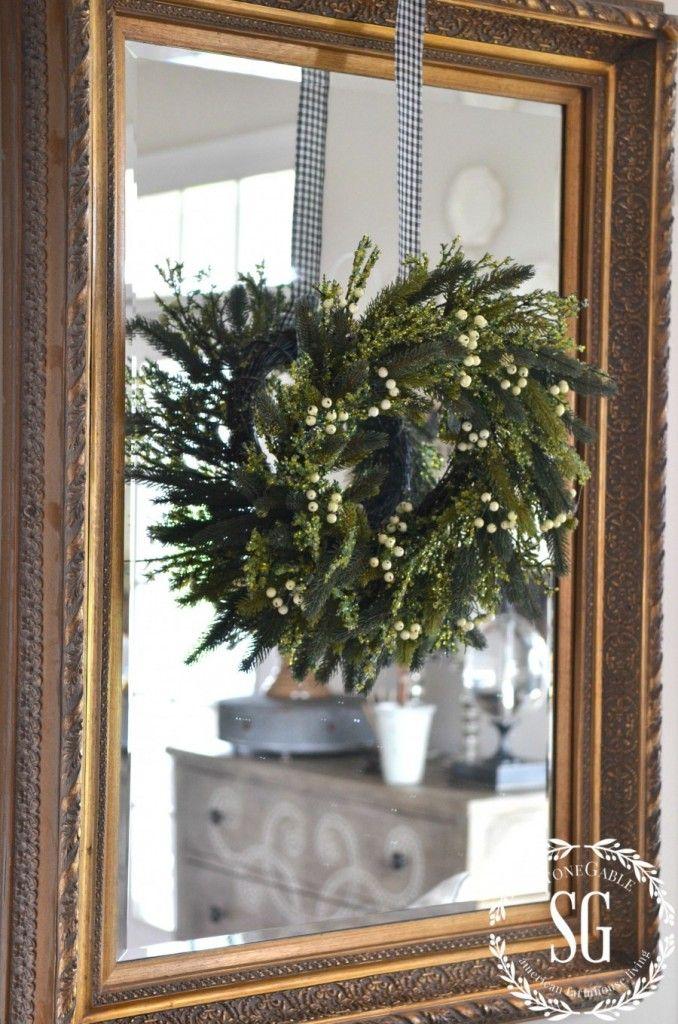 Creative Way To Use Wreaths Stonegable Wreath Mirror Window Wreath Christmas Mirror