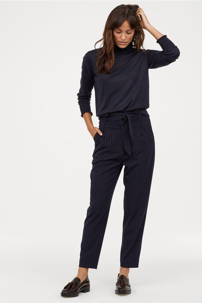 2bcc48e08 Lyocell paper bag trousers - Dark blue/Pinstripe - Ladies   H&M GB 1.  Lyocell Paper-bag Pants ...