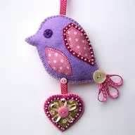 felt bird ornament - pretty!