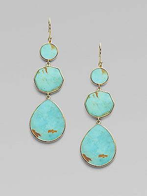 Ippolita Polished Rock Candy Turquoise 18k Yellow Gold Crazy 8s Drop Earrings