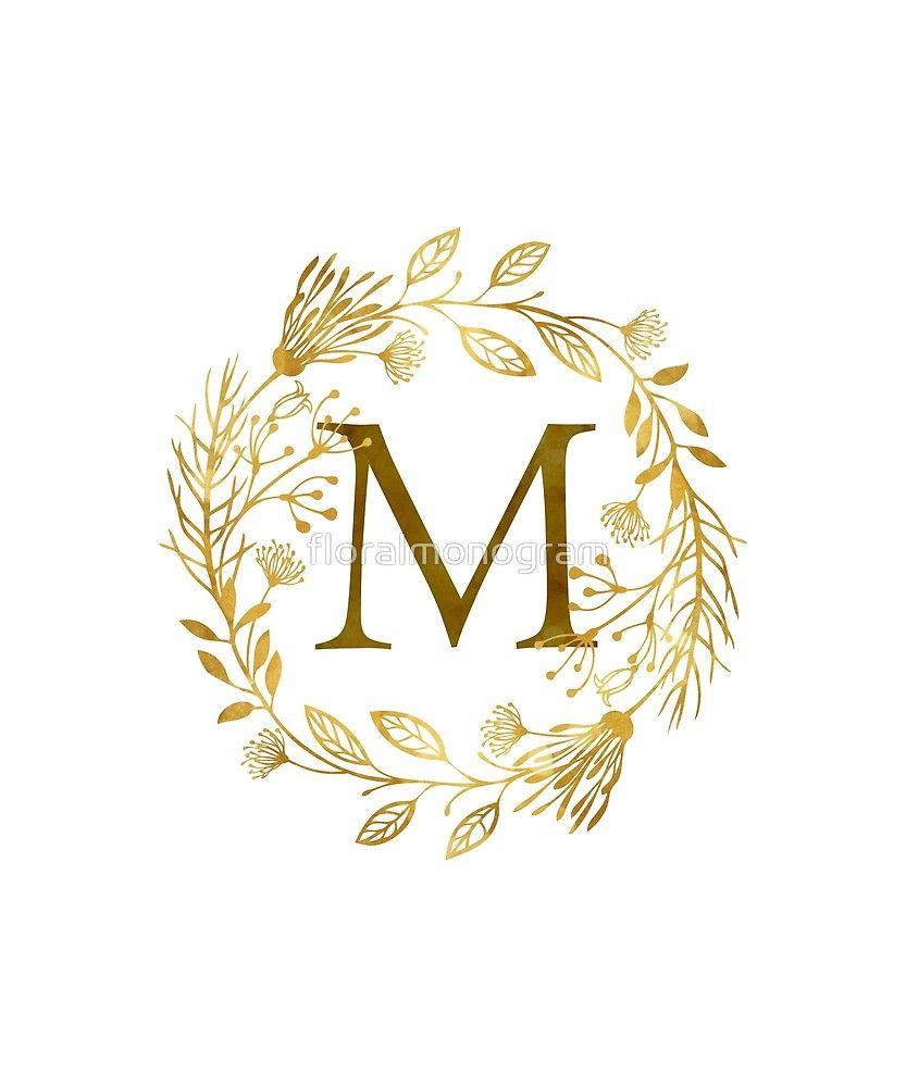 Monogram M Elegant Gold Foliage Sticker By Floralmonogram In 2021 Lettering Alphabet Wallpaper Letter Wall Decor