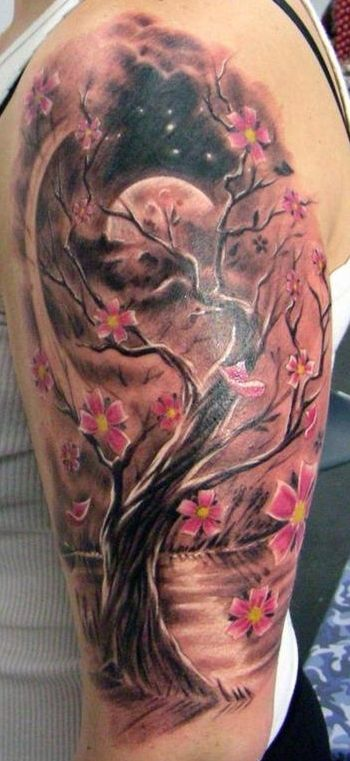 Ink Murals Full Back Chest And Sleeve Tattoos Looking At Cherry Blossom Tats For My Sholder Next Tat Picture Tattoos Blossom Tree Tattoo Tattoos