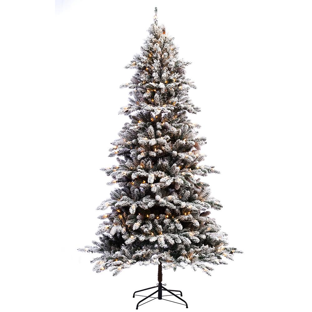 Puleo International 7 5 Ft Pre Lit Incandescent Flocked Birmingham Fir Artificial Christmas Tree With 400 Ul Clear Lights 253 Byg 75c4 The Home Depot In 2020 Fir Christmas Tree Artificial Christmas Tree Pre Lit