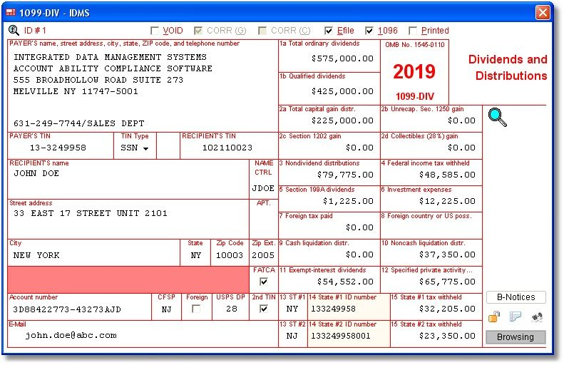 Dividends And Distributions Data Is Entered Onto Windows That