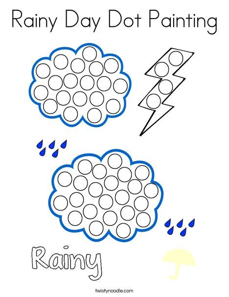 Rainy Day Dot Painting Coloring Page Twisty Noodle Dot