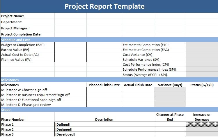 Project Management Status Report Template  Free Project Status Report Template