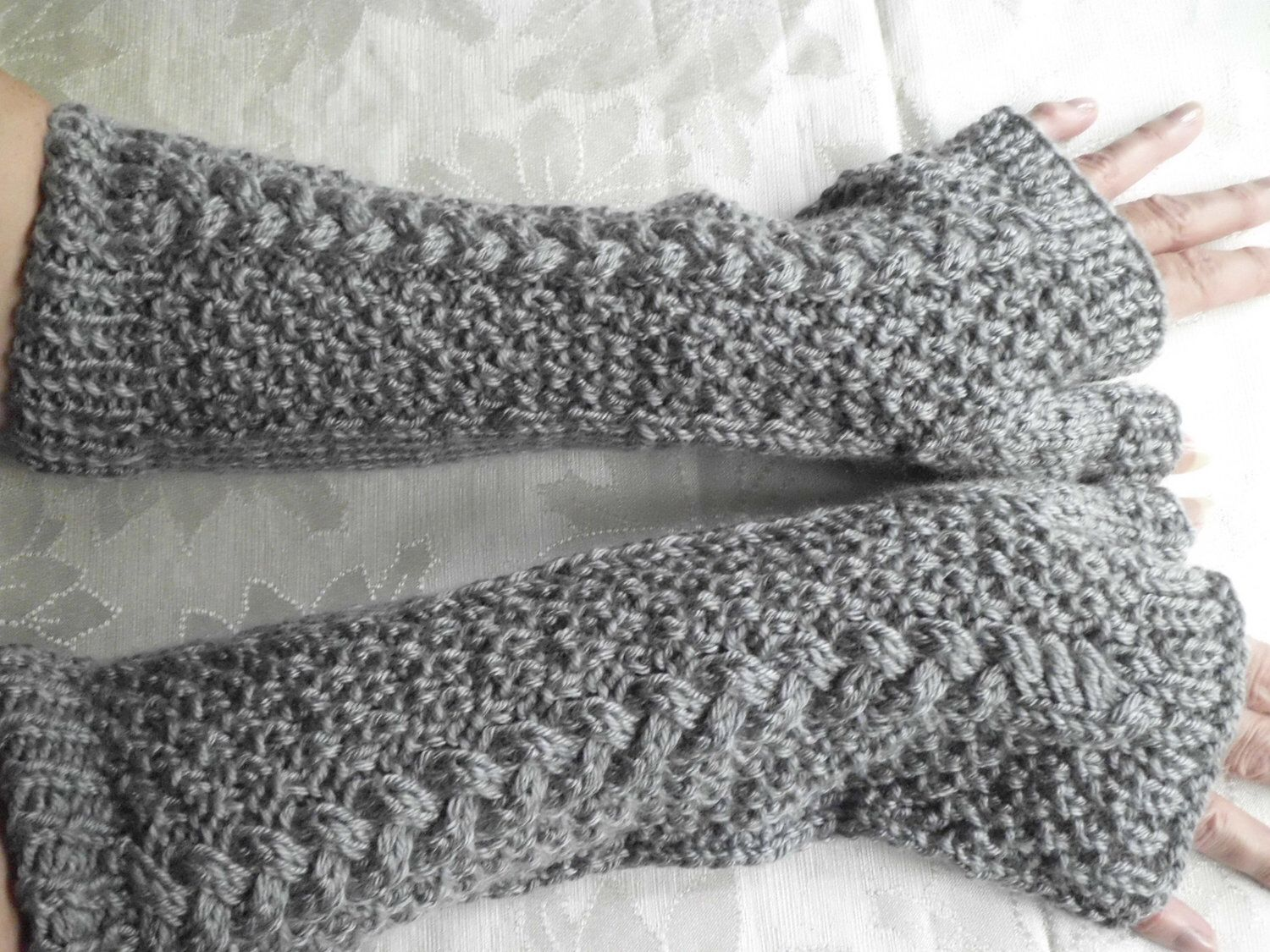 Hand Knit Fingerless Gloves in Soft Grey with Cable Stitch ...
