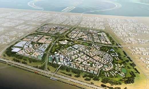 Badrah – site plan contains 4 distinct precincts encased within a green belt. Sheik Zayed Road, Dubai and Abu Dhabi's main arterial route, is shown in the lower left and centre of the image:    The architecture of Badrah blends modern modular forms with traditional Arabic design and upon completion [the first phase will be ready in 2009] will provide over 45,000 affordable homes. Designed with sustainability and affordability as key factors, Badrah will be built to very high standards.