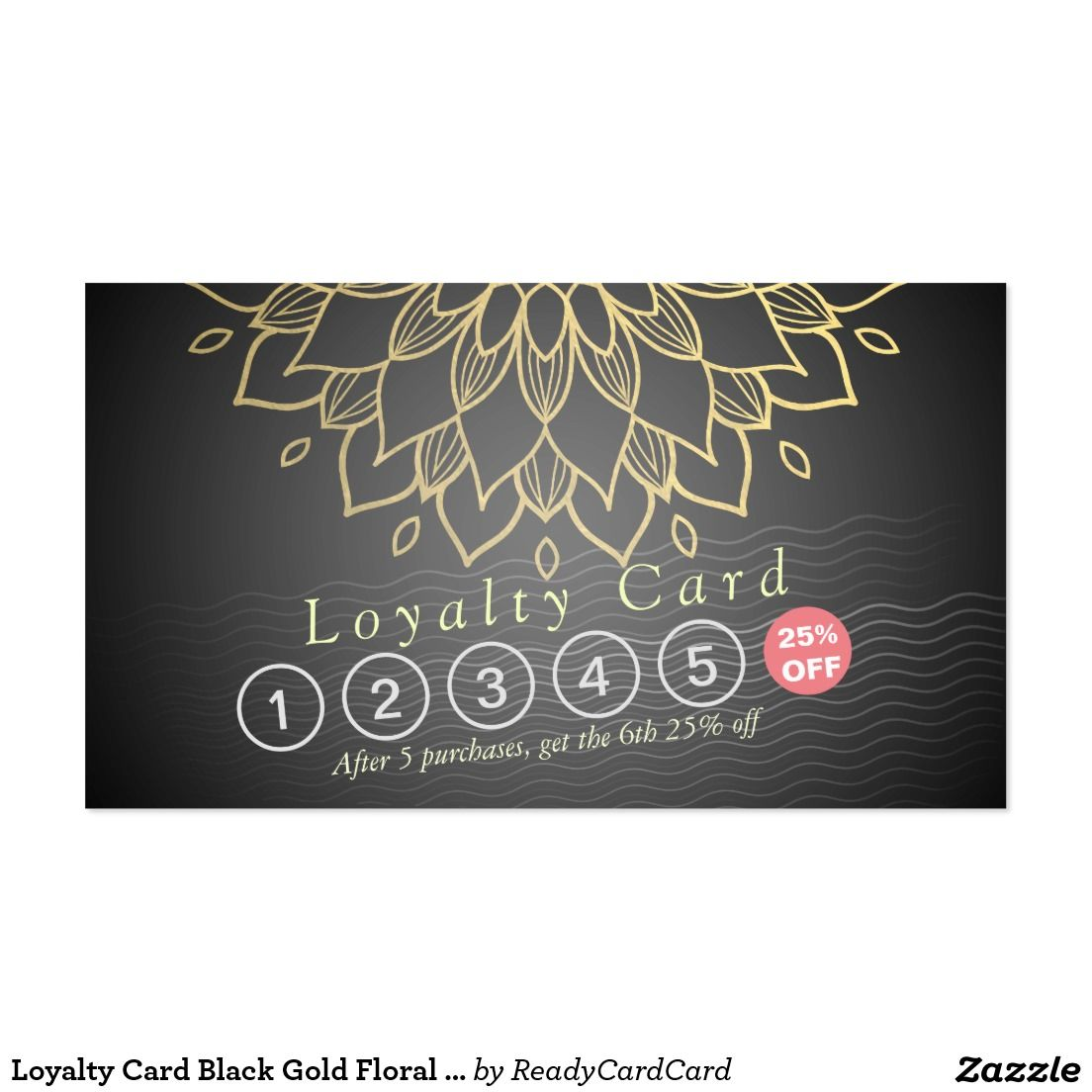 Loyalty Card Black Gold Floral Waves Hair Stylist | MAKEUP BEAUTY ...