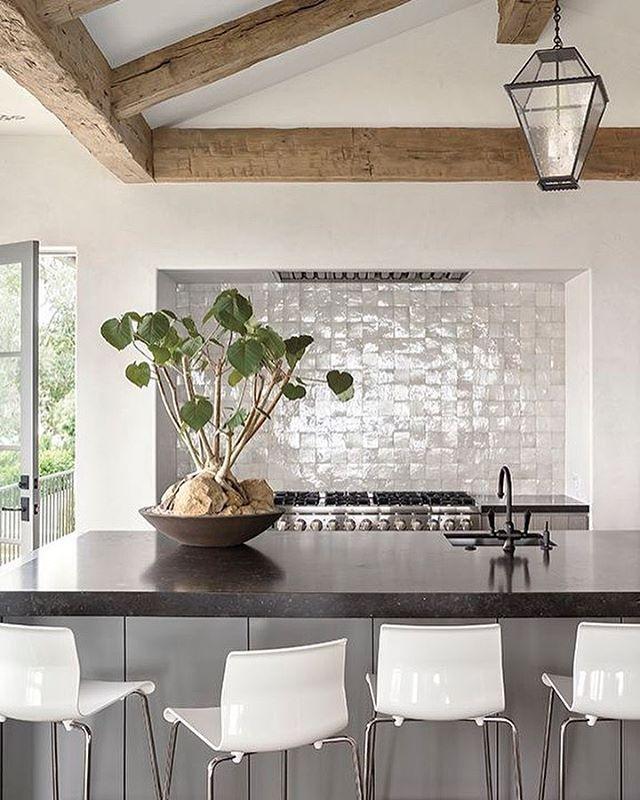 Great Kitchen Design With Gray Tile Backsplash Wood Beam Ceiling