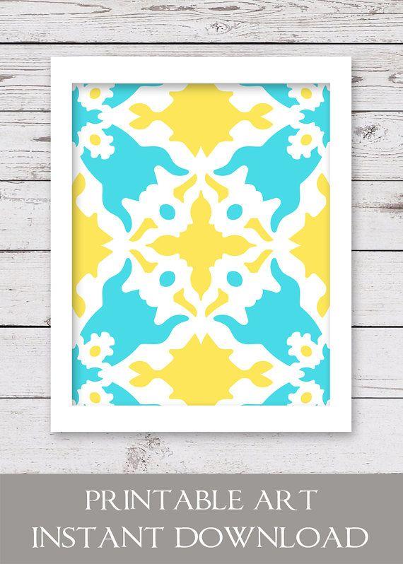 PRINTABLE Art Ikat Art Yellow and Turquoise by inkandnectardigital ...