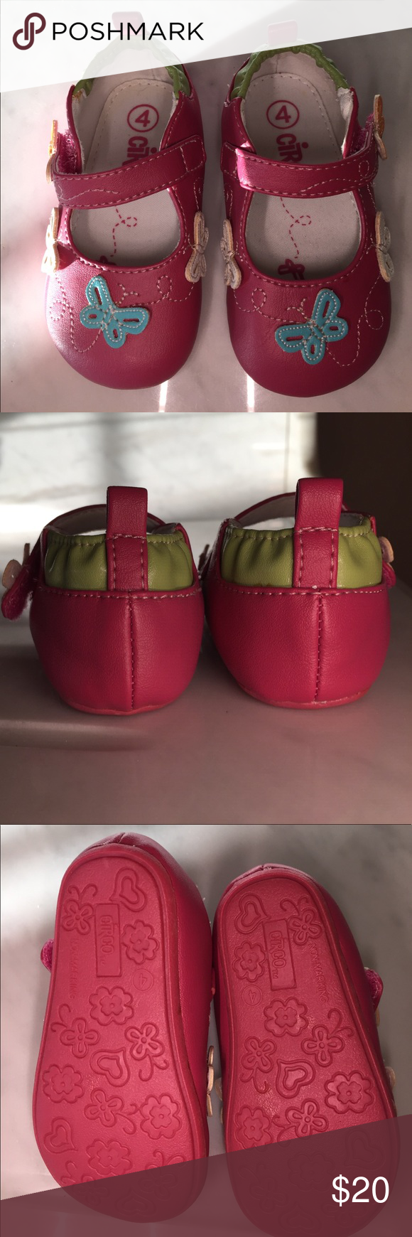 New girls shoes with velcro and butterflies These are adorable and perfect for your little girl. Manmade materials. Fuchsia, Lime green, orange, white and Aqua blue make for a great combination. Shoes Dress Shoes