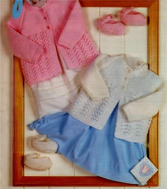 3e1bfe1e1cfe PDF DIGITAL KNITTING PATTERN Babies Matinee Coat in 2 designs and ...