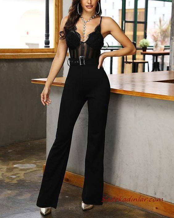 2020 Bayan Abiye Tulum Modelleri Siyah Ip Askili Kalp Yaka Dantel Detayli 2020 Moda Stilleri Moda Tulumlar