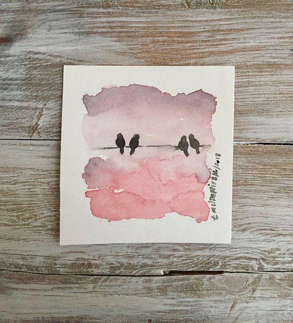Love Bird Painting Bird Art Watercolor Original Art Painting