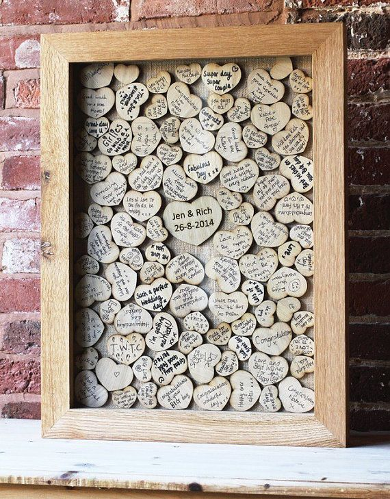 Guest Book Drop Box Style Wedding Alternative Books Wishes With Hearts Personalized