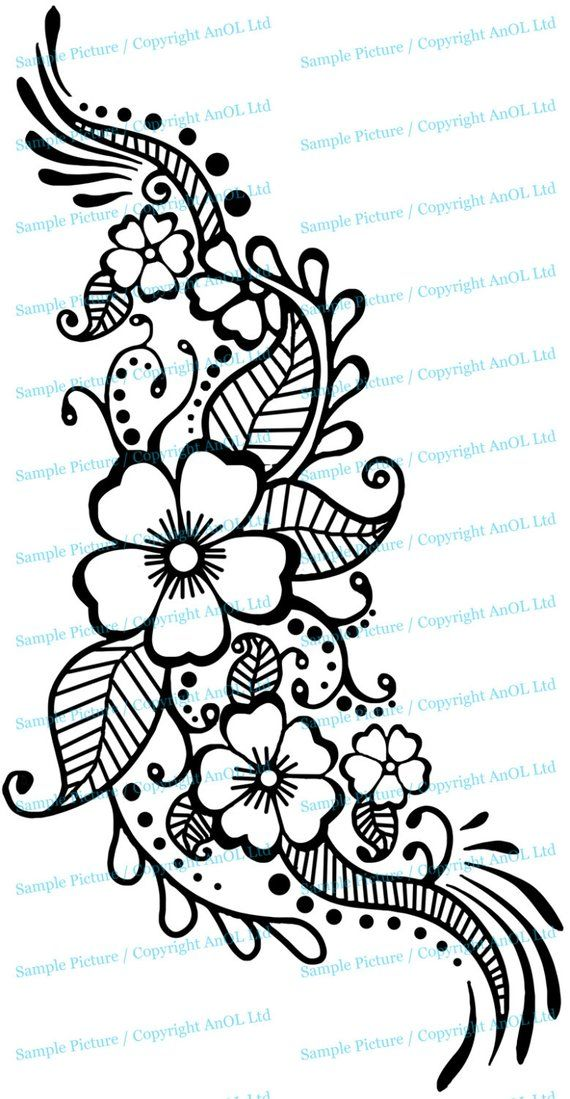 Henna Tattoo Wall Vinyl Sticker - Floral Flower Mandala Art Paisley Mehndi Indian Decal - Decor Inspired Stencil Black Home Room Joga Mural