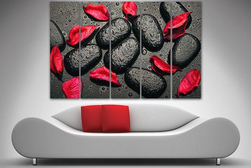 Stones Art Print On Canvas Red Petals Zen Stones Decor Etsy Art Prints For Home Stone Art Stone Decor