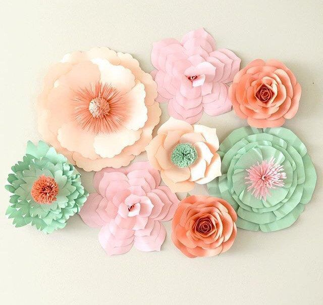 Paper flower backdrop paper flower centerpiece large paper flowers large paper flowers for weddings events and all occasions choose your own mightylinksfo Images