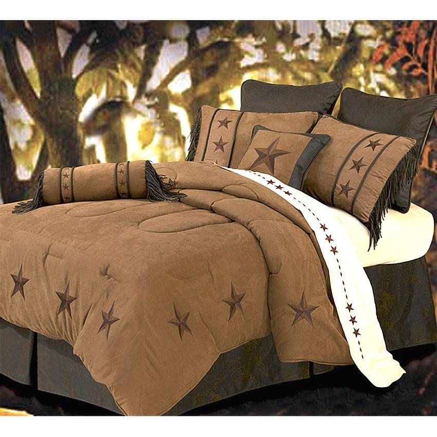 Laredo Star Embroidery Dark Tan Luxury Comforter Set Super