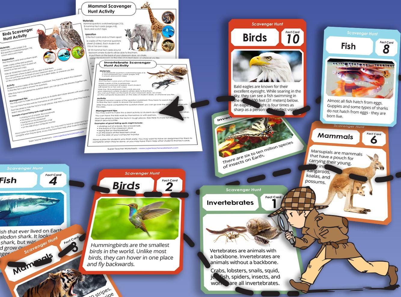Animal Scavenger Hunts Animal Worksheets Animal Activities Super Teacher Worksheets [ 988 x 1334 Pixel ]