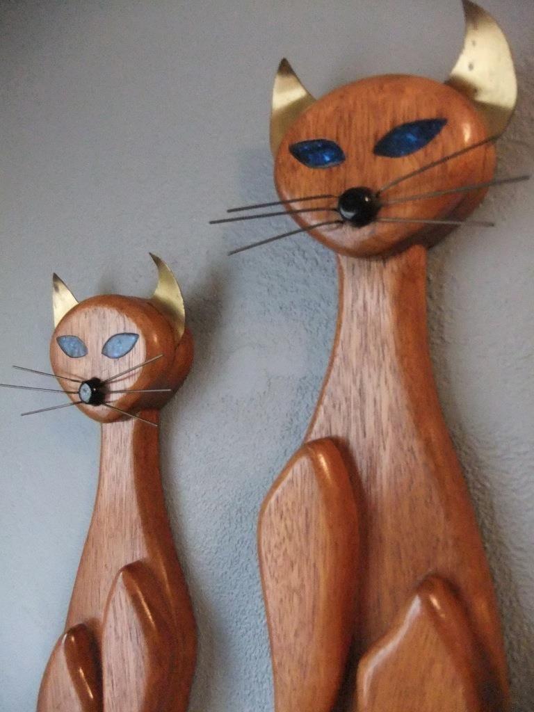 Cool pair of mid century modern art cat wall hangings wood body