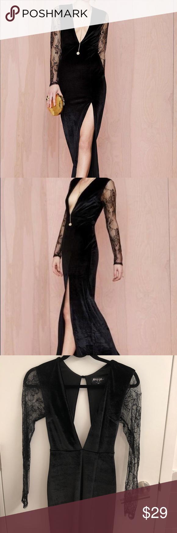 Nasty gal black velvet lace dress size xxs pinterest black