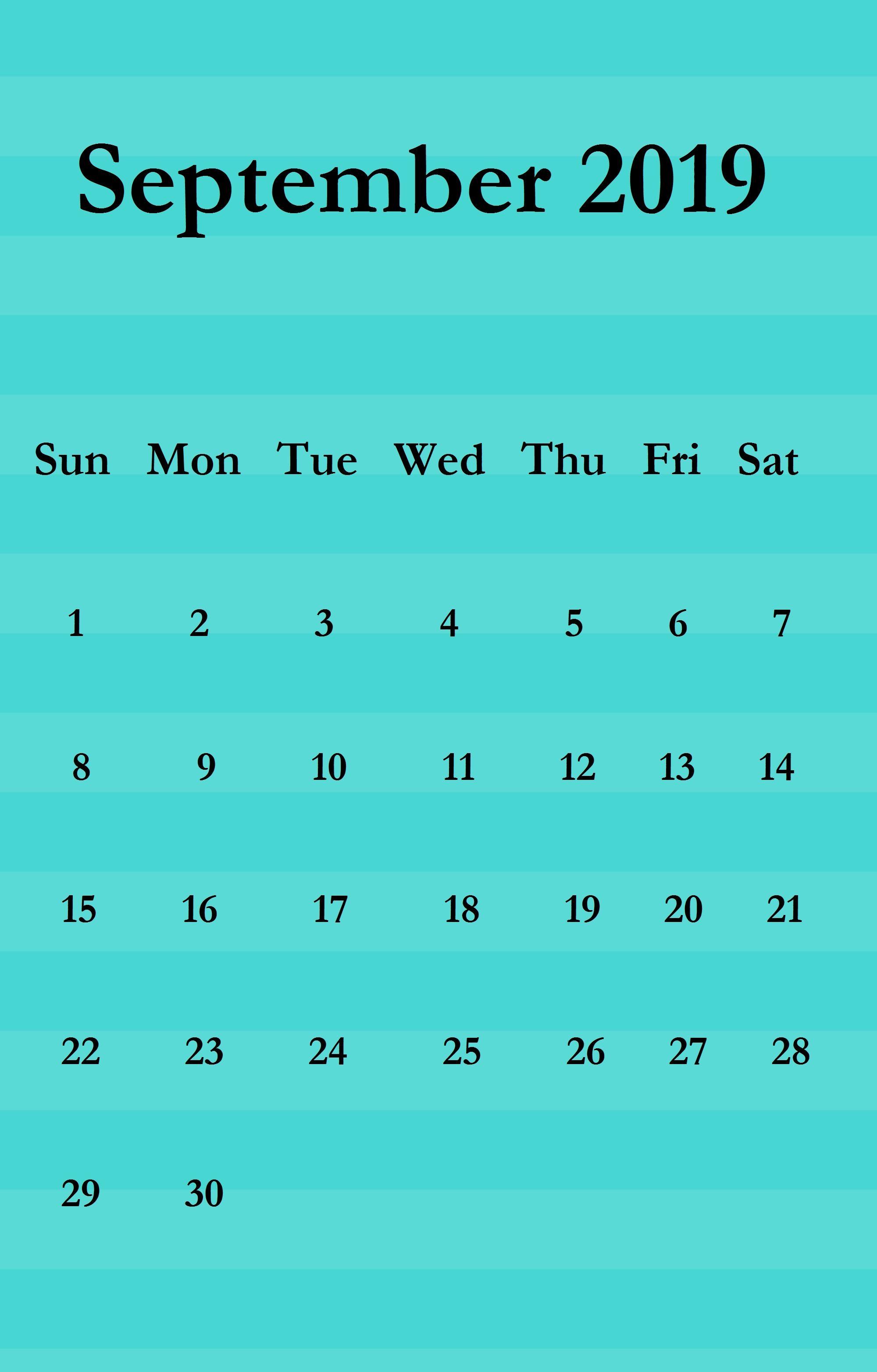 September 2019 Iphone Wallpaper Calendar Calendar Wallpaper