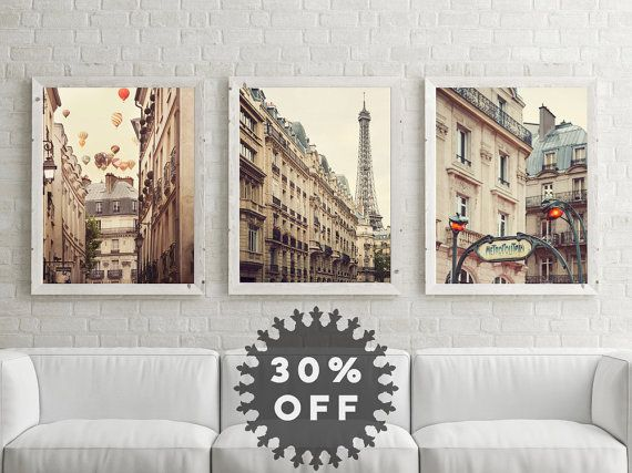 Neutral Wall Art sale paris photography set, paris prints, large art, neutral wall